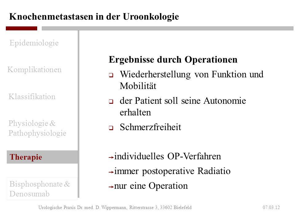 Knochenmetastasen in der Uroonkologie 07.03.12Urologische Praxis Dr. med. D. Wippermann, Ritterstrasse 3, 33602 Bielefeld Indikation zur Operation Sta