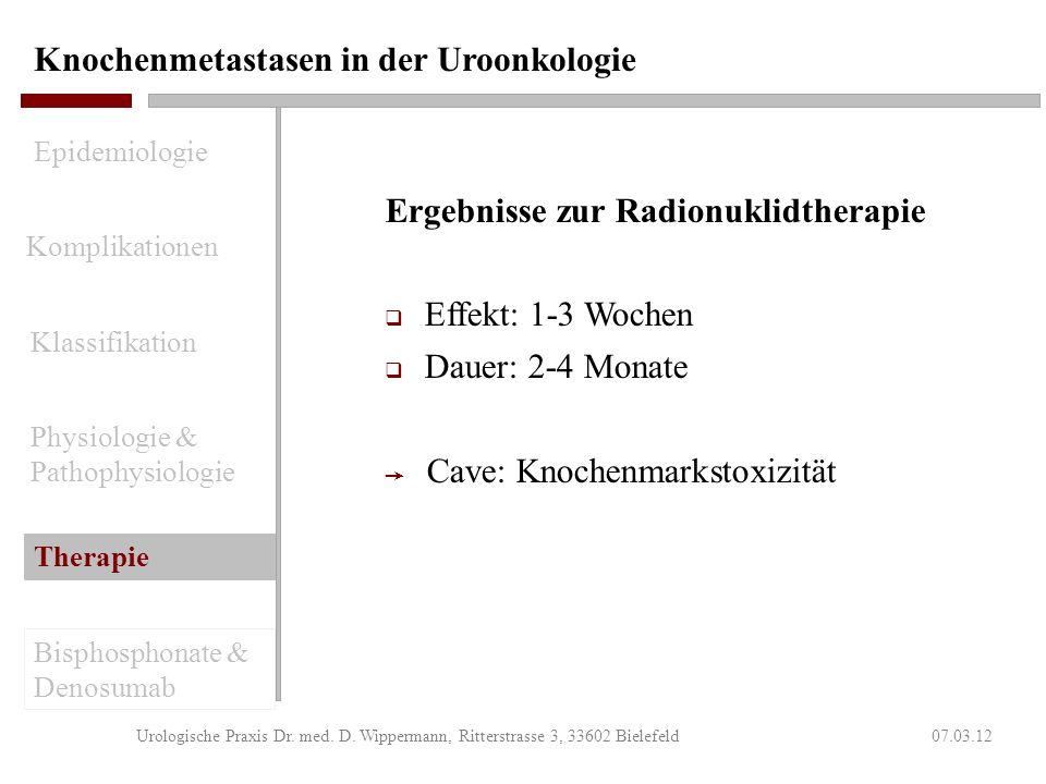 Knochenmetastasen in der Uroonkologie 07.03.12Urologische Praxis Dr. med. D. Wippermann, Ritterstrasse 3, 33602 Bielefeld Indikation zur Radionuklidth
