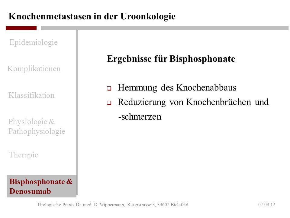Knochenmetastasen in der Uroonkologie 07.03.12Urologische Praxis Dr. med. D. Wippermann, Ritterstrasse 3, 33602 Bielefeld Nebenwirkungen von Bisphosph