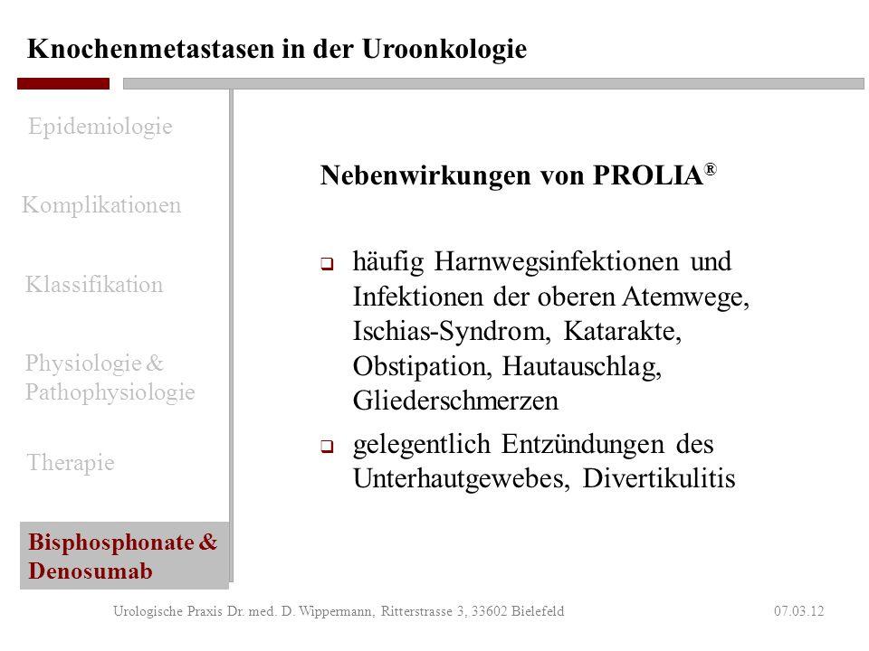 Knochenmetastasen in der Uroonkologie 07.03.12Urologische Praxis Dr. med. D. Wippermann, Ritterstrasse 3, 33602 Bielefeld Indikation für PROLIA ® (Den