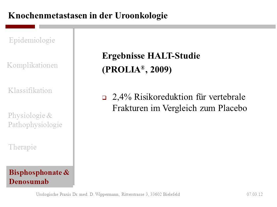 Knochenmetastasen in der Uroonkologie 07.03.12Urologische Praxis Dr. med. D. Wippermann, Ritterstrasse 3, 33602 Bielefeld Nebenwirkungen von PROLIA ®