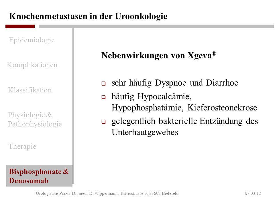 Knochenmetastasen in der Uroonkologie 07.03.12Urologische Praxis Dr. med. D. Wippermann, Ritterstrasse 3, 33602 Bielefeld Indikation für Xgeva ® (Deno
