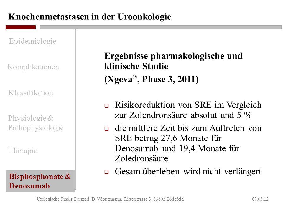 Knochenmetastasen in der Uroonkologie 07.03.12Urologische Praxis Dr. med. D. Wippermann, Ritterstrasse 3, 33602 Bielefeld Nebenwirkungen von Xgeva ® s