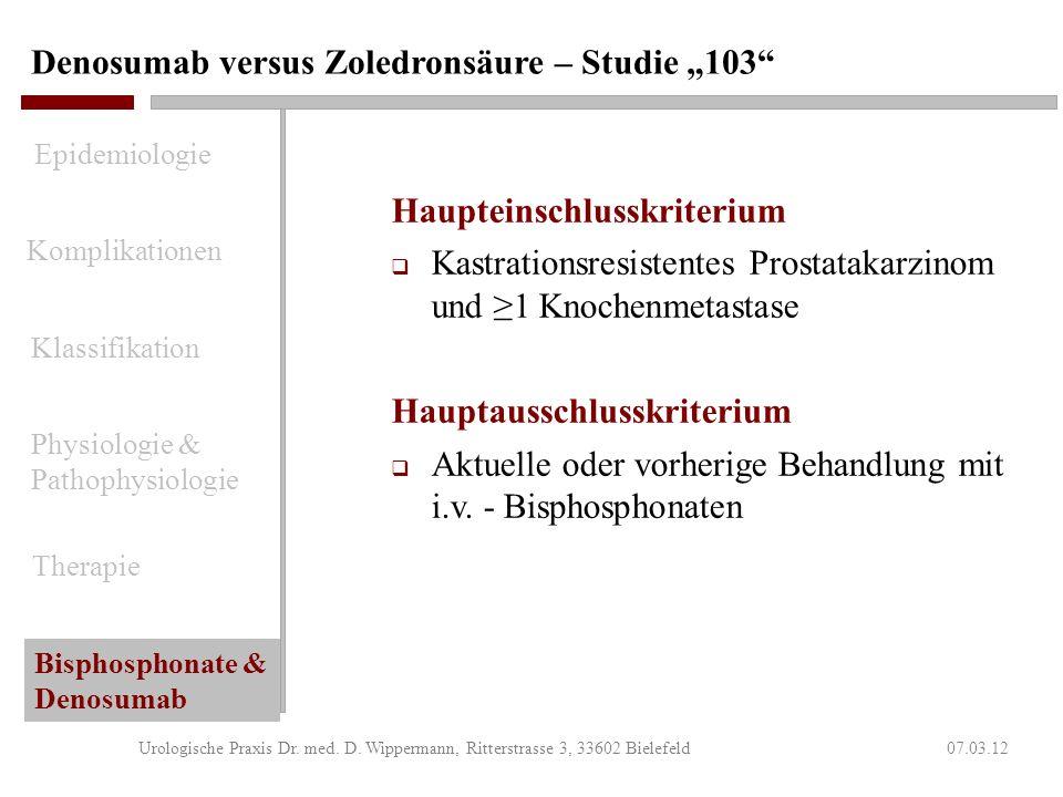 Denosumab versus Zoledronsäure – Studie 103 07.03.12Urologische Praxis Dr. med. D. Wippermann, Ritterstrasse 3, 33602 Bielefeld Studiendesign randomis