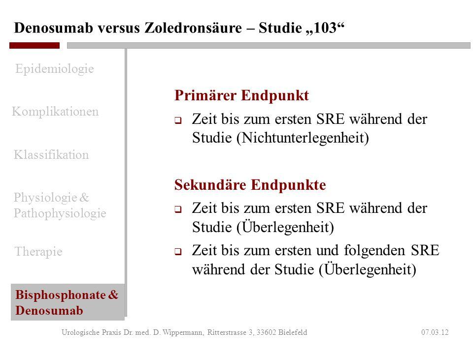 Denosumab versus Zoledronsäure – Studie 103 07.03.12Urologische Praxis Dr. med. D. Wippermann, Ritterstrasse 3, 33602 Bielefeld Haupteinschlusskriteri