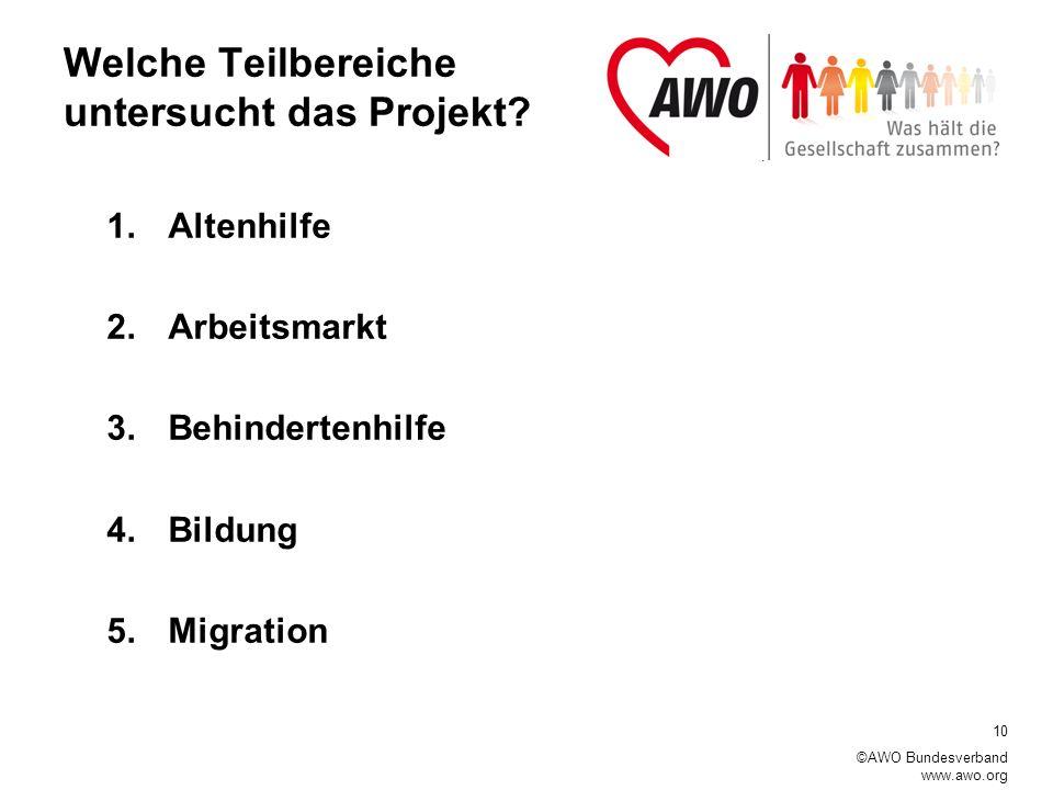 10 ©AWO Bundesverband www.awo.org Welche Teilbereiche untersucht das Projekt.