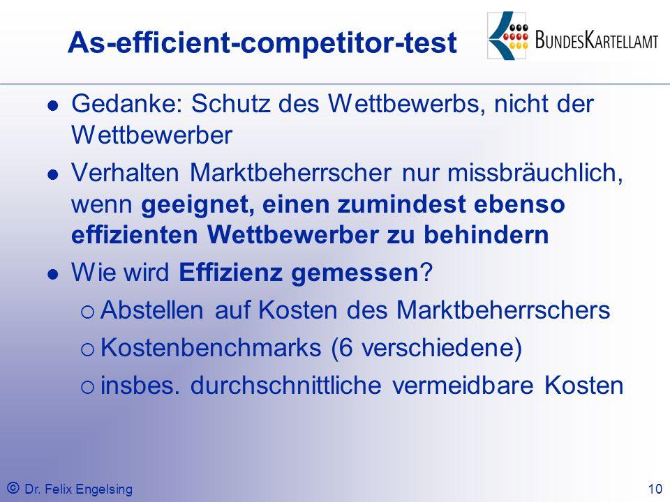© Dr. Felix Engelsing10 As-efficient-competitor-test Gedanke: Schutz des Wettbewerbs, nicht der Wettbewerber Verhalten Marktbeherrscher nur missbräuch