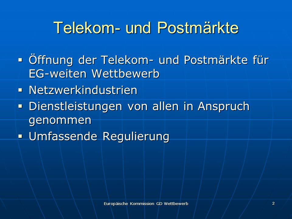 Europäische Kommission GD Wettbewerb 2 Telekom- und Postmärkte Öffnung der Telekom- und Postmärkte für EG-weiten Wettbewerb Öffnung der Telekom- und Postmärkte für EG-weiten Wettbewerb Netzwerkindustrien Netzwerkindustrien Dienstleistungen von allen in Anspruch genommen Dienstleistungen von allen in Anspruch genommen Umfassende Regulierung Umfassende Regulierung