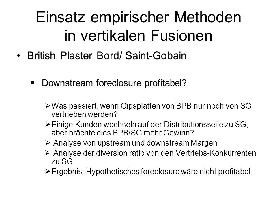 Einsatz empirischer Methoden in vertikalen Fusionen British Plaster Bord/ Saint-Gobain Downstream foreclosure profitabel? Was passiert, wenn Gipsplatt