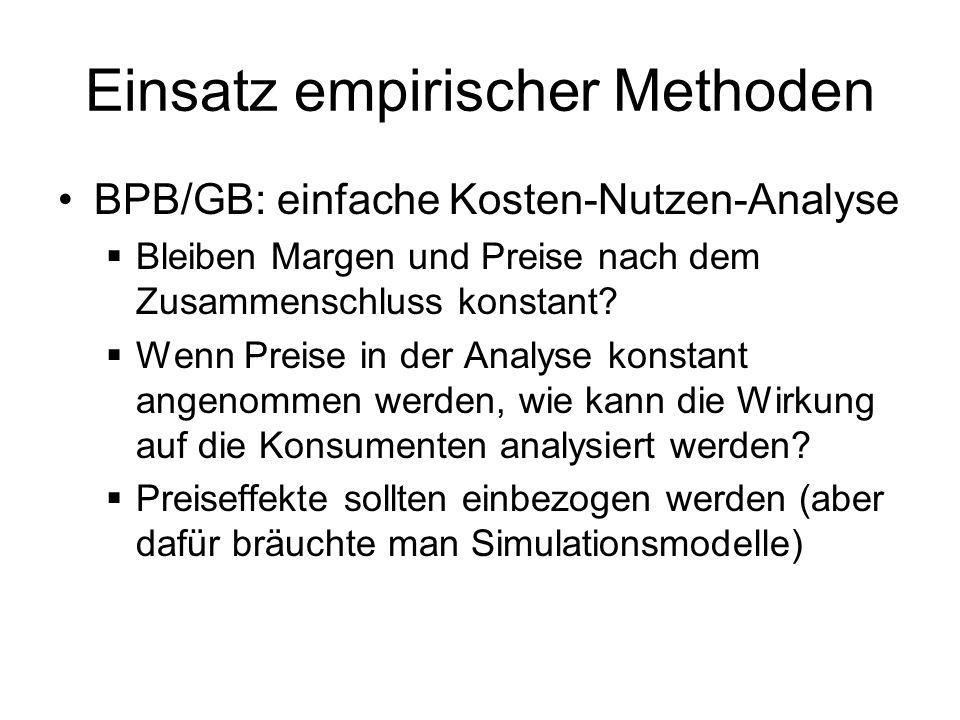 Einsatz empirischer Methoden BPB/GB: einfache Kosten-Nutzen-Analyse Bleiben Margen und Preise nach dem Zusammenschluss konstant? Wenn Preise in der An