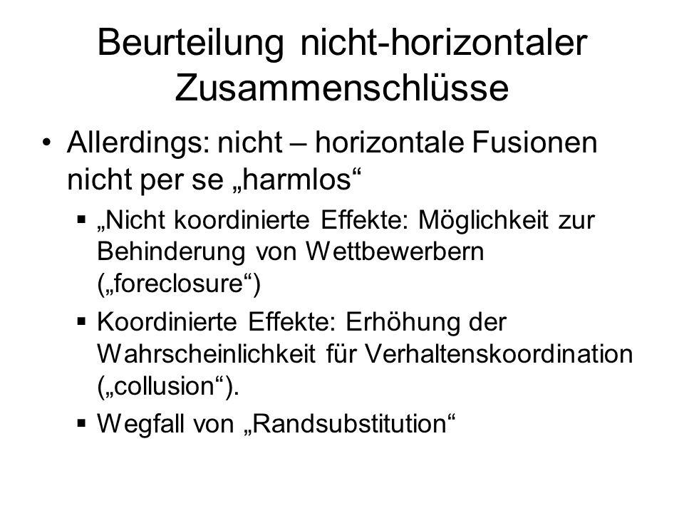 Beurteilung nicht-horizontaler Zusammenschlüsse Intervention der Wettbewerbsbehörden bei nicht-horizontalen Fusionen (Beisp.) Bertelsmann/Kirch (EU) RTL/Veronica (EU) EDP/GDP (EU) Boing/Hughes (US) Springer/Pro7SAT1
