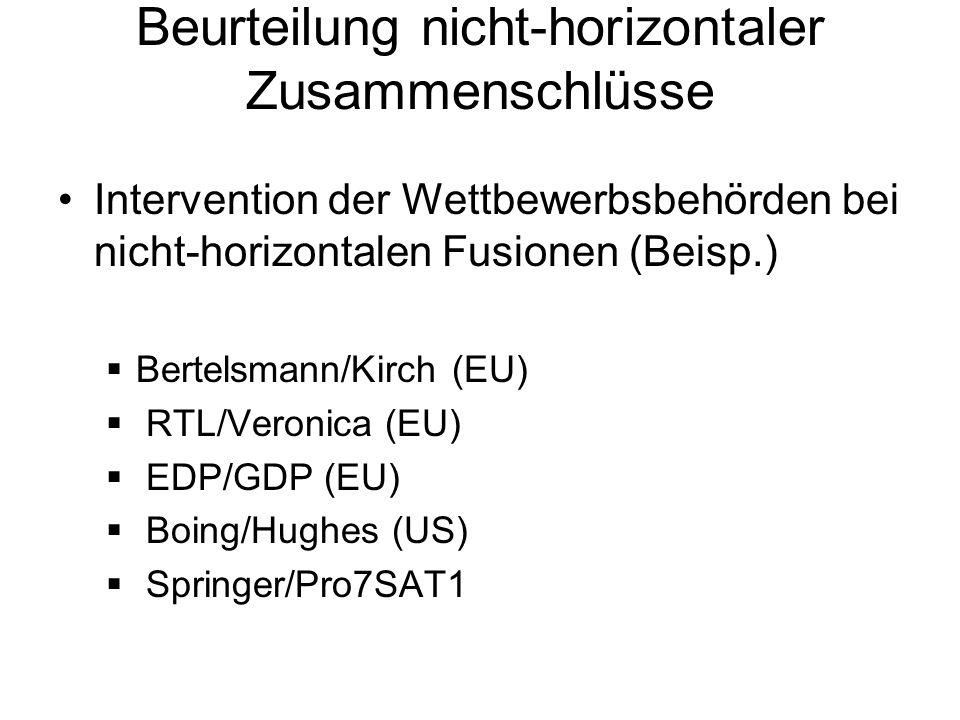 Beurteilung nicht-horizontaler Zusammenschlüsse Intervention der Wettbewerbsbehörden bei nicht-horizontalen Fusionen (Beisp.) Bertelsmann/Kirch (EU) R