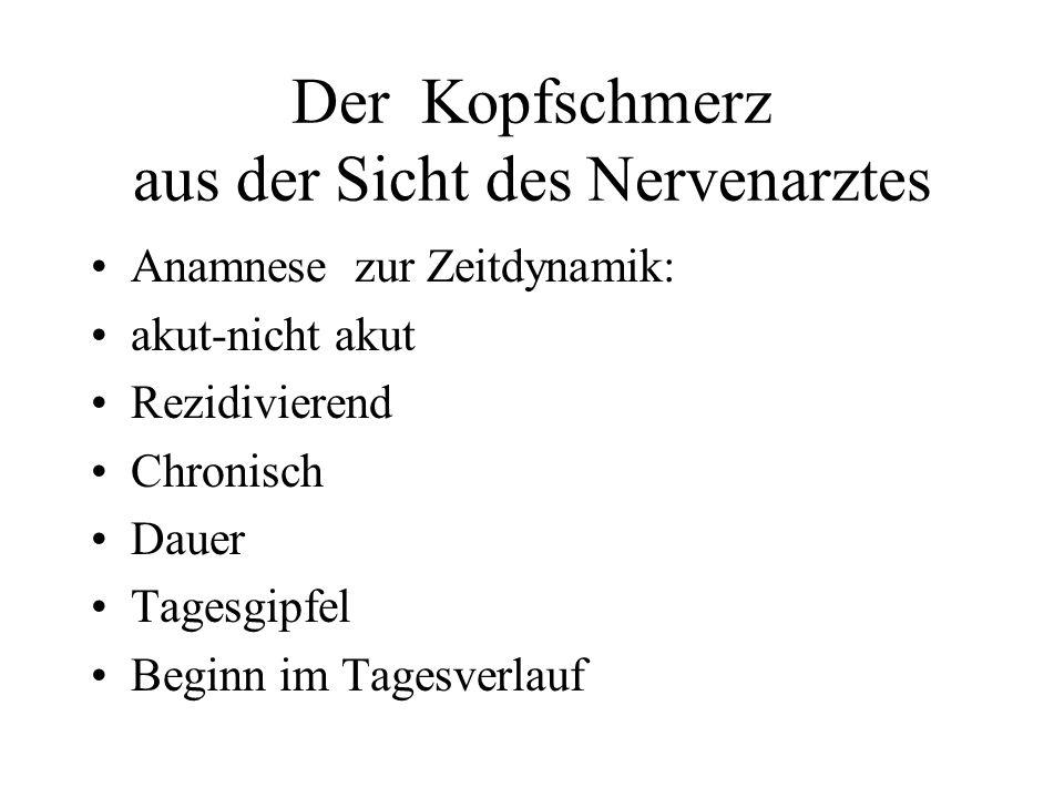 Der Kopfschmerz aus Sicht des Nervenarztes Anamnese zum KS-Sitz: Wo sitzt der KS.