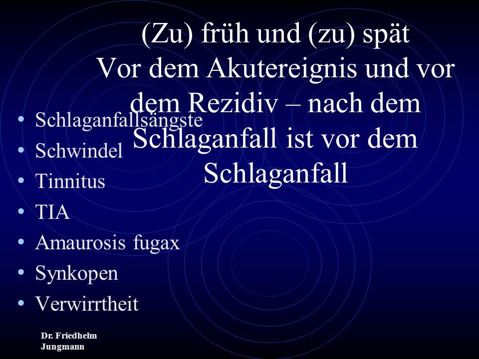 Dr. Friedhelm Jungmann (Zu) früh und (zu) spät Vor dem Akutereignis und vor dem Rezidiv – nach dem Schlaganfall ist vor dem Schlaganfall Schlaganfalls