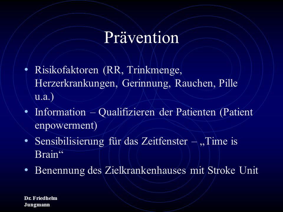 Dr. Friedhelm Jungmann Prävention Risikofaktoren (RR, Trinkmenge, Herzerkrankungen, Gerinnung, Rauchen, Pille u.a.) Information – Qualifizieren der Pa
