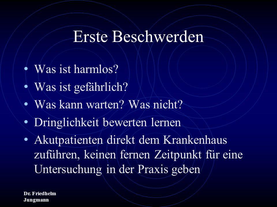 Dr. Friedhelm Jungmann Erste Beschwerden Was ist harmlos? Was ist gefährlich? Was kann warten? Was nicht? Dringlichkeit bewerten lernen Akutpatienten
