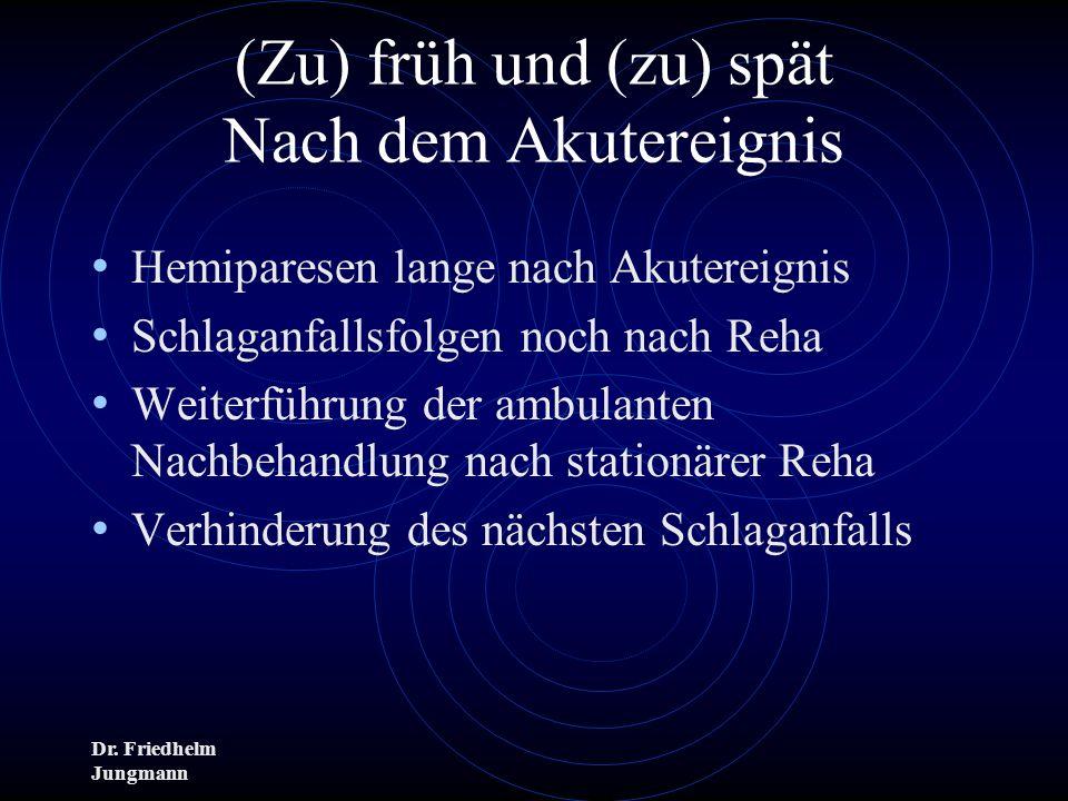 Dr. Friedhelm Jungmann (Zu) früh und (zu) spät Nach dem Akutereignis Hemiparesen lange nach Akutereignis Schlaganfallsfolgen noch nach Reha Weiterführ