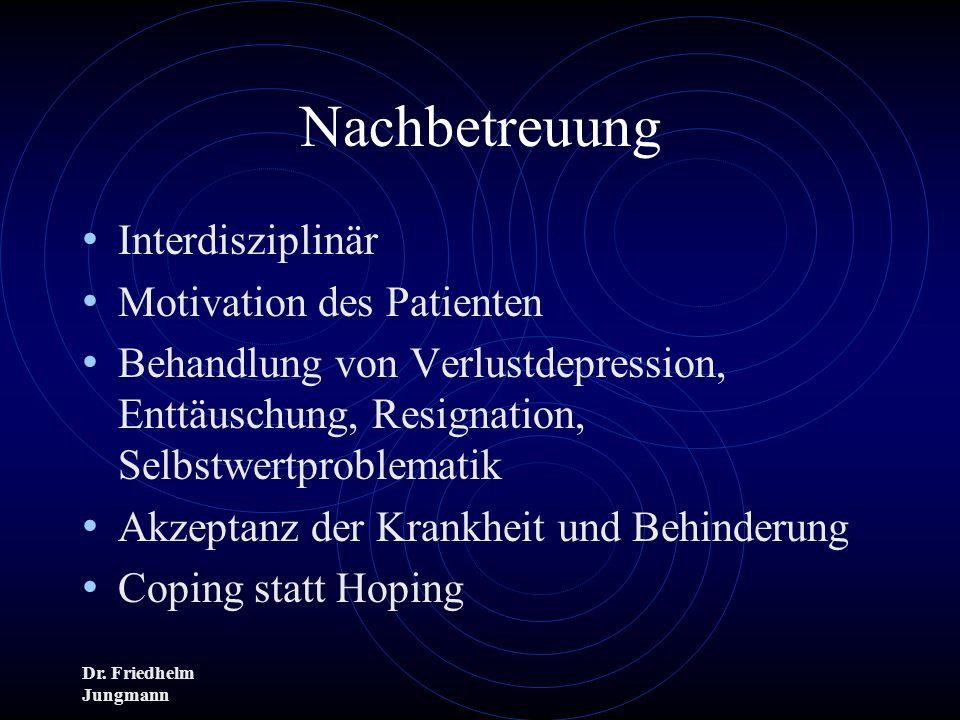 Dr. Friedhelm Jungmann Nachbetreuung Interdisziplinär Motivation des Patienten Behandlung von Verlustdepression, Enttäuschung, Resignation, Selbstwert