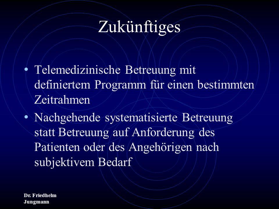 Dr. Friedhelm Jungmann Zukünftiges Telemedizinische Betreuung mit definiertem Programm für einen bestimmten Zeitrahmen Nachgehende systematisierte Bet