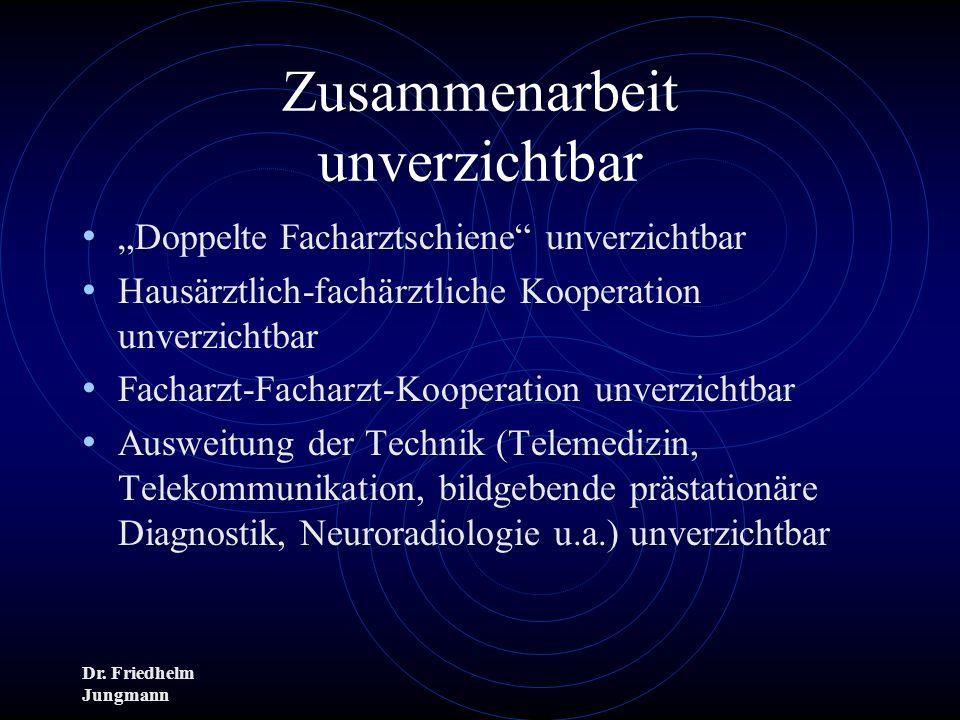 Dr. Friedhelm Jungmann Zusammenarbeit unverzichtbar Doppelte Facharztschiene unverzichtbar Hausärztlich-fachärztliche Kooperation unverzichtbar Fachar