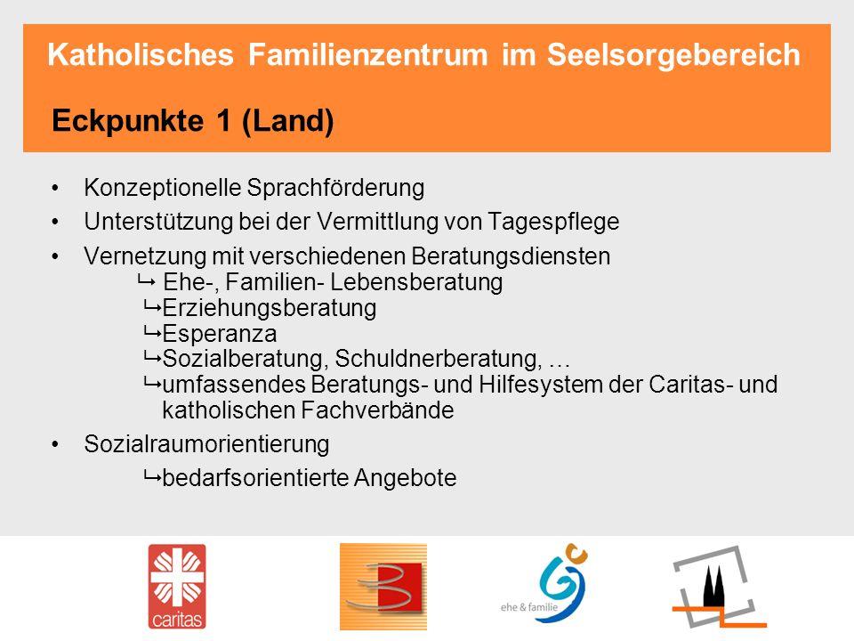 Katholisches Familienzentrum im Seelsorgebereich Eckpunkte 1 (Land) Konzeptionelle Sprachförderung Unterstützung bei der Vermittlung von Tagespflege V