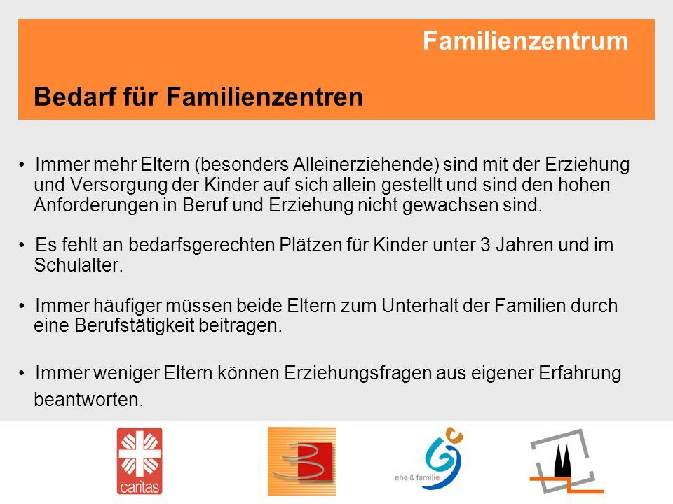 Familienzentrum Bedarf für Familienzentren Immer mehr Eltern (besonders Alleinerziehende) sind mit der Erziehung und Versorgung der Kinder auf sich al