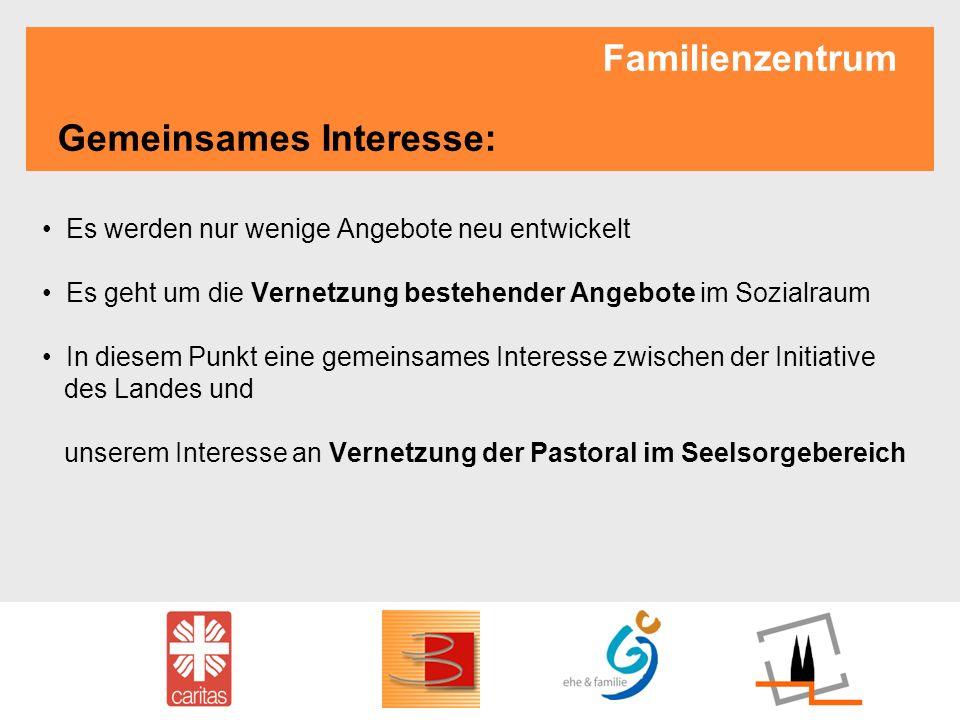Familienzentrum Gemeinsames Interesse: Es werden nur wenige Angebote neu entwickelt Es geht um die Vernetzung bestehender Angebote im Sozialraum In di