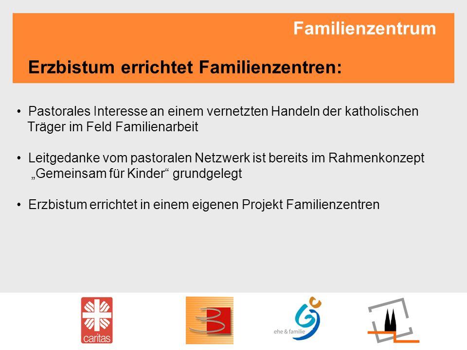 Familienzentrum Erzbistum errichtet Familienzentren: Pastorales Interesse an einem vernetzten Handeln der katholischen Träger im Feld Familienarbeit L