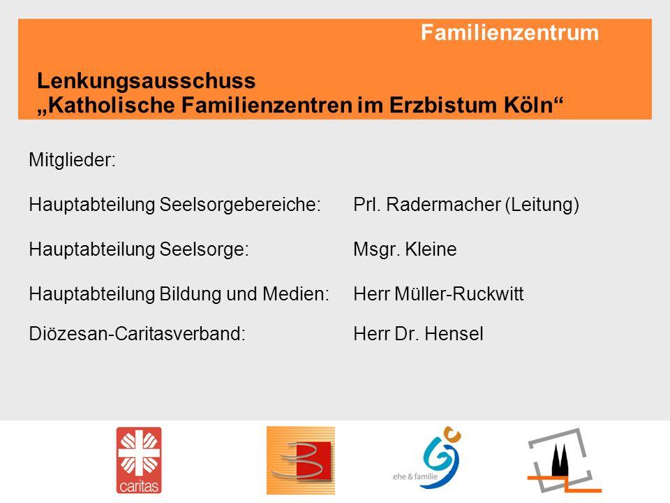 Familienzentrum Lenkungsausschuss Katholische Familienzentren im Erzbistum Köln Mitglieder: Hauptabteilung Seelsorgebereiche:Prl. Radermacher (Leitung