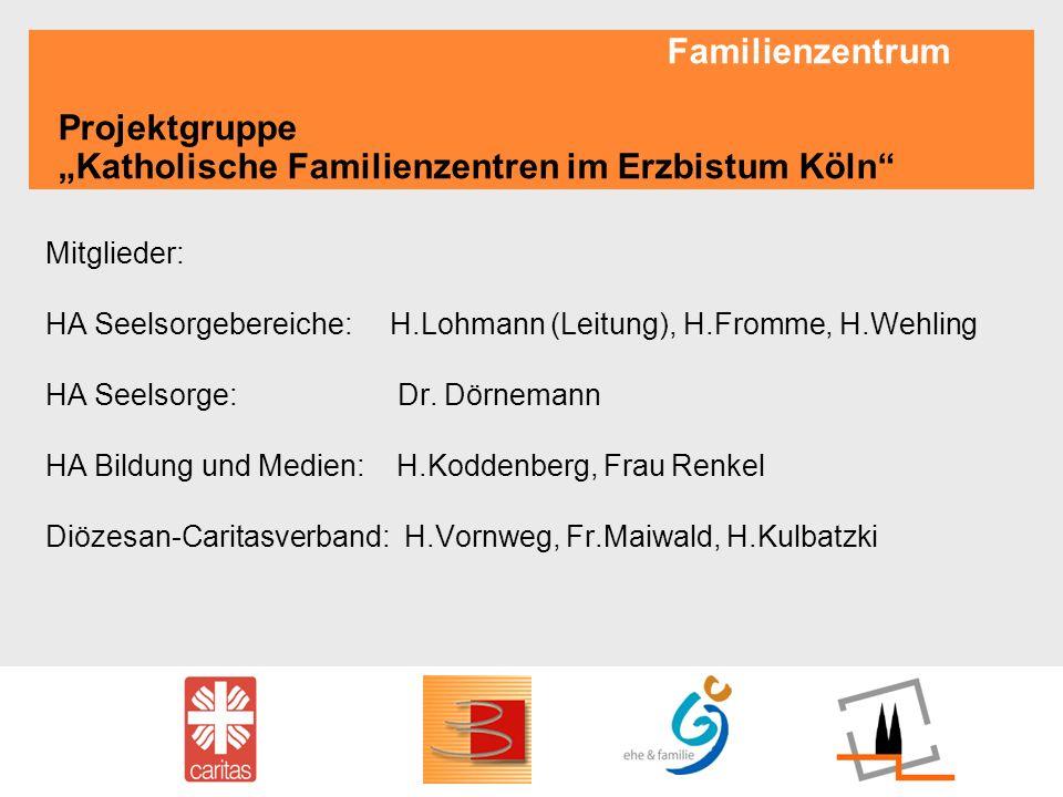 Familienzentrum Projektgruppe Katholische Familienzentren im Erzbistum Köln Mitglieder: HA Seelsorgebereiche: H.Lohmann (Leitung), H.Fromme, H.Wehling