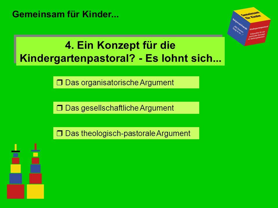 Gemeinsam für Kinder... 4. Ein Konzept für die Kindergartenpastoral? - Es lohnt sich... Das organisatorische Argument Das gesellschaftliche Argument D