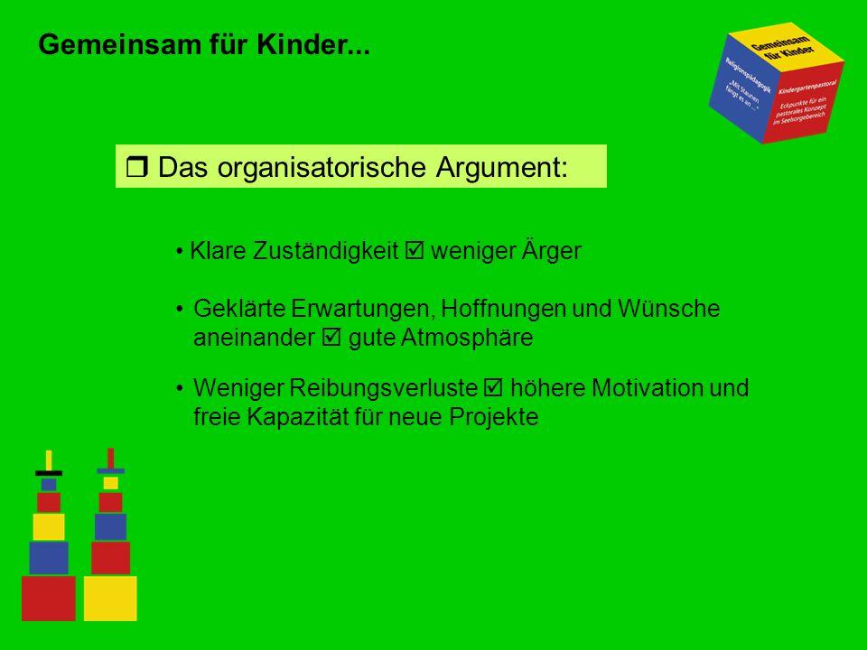 Gemeinsam für Kinder... Das organisatorische Argument: Klare Zuständigkeit weniger Ärger Geklärte Erwartungen, Hoffnungen und Wünsche aneinander gute