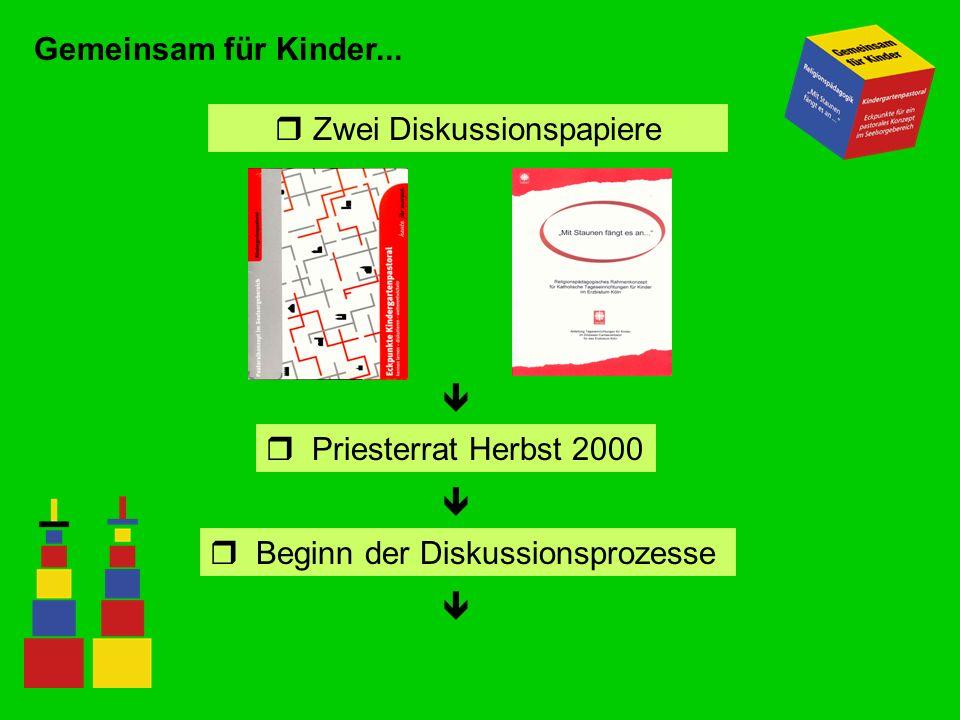 Gemeinsam für Kinder... r Zwei Diskussionspapiere Priesterrat Herbst 2000 Beginn der Diskussionsprozesse