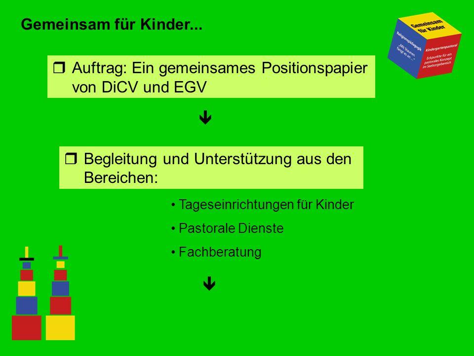 Gemeinsam für Kinder... rAuftrag: Ein gemeinsames Positionspapier von DiCV und EGV rBegleitung und Unterstützung aus den Bereichen: Tageseinrichtungen