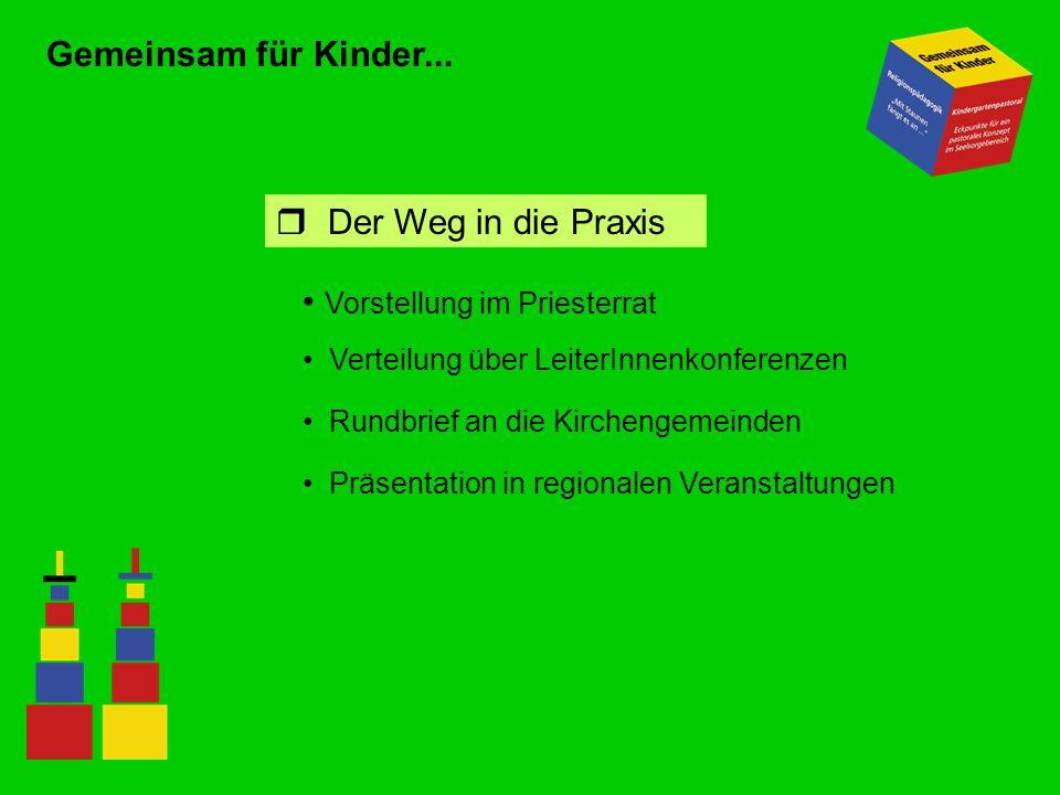 Gemeinsam für Kinder... Vorstellung im Priesterrat r Der Weg in die Praxis Verteilung über LeiterInnenkonferenzen Rundbrief an die Kirchengemeinden Pr