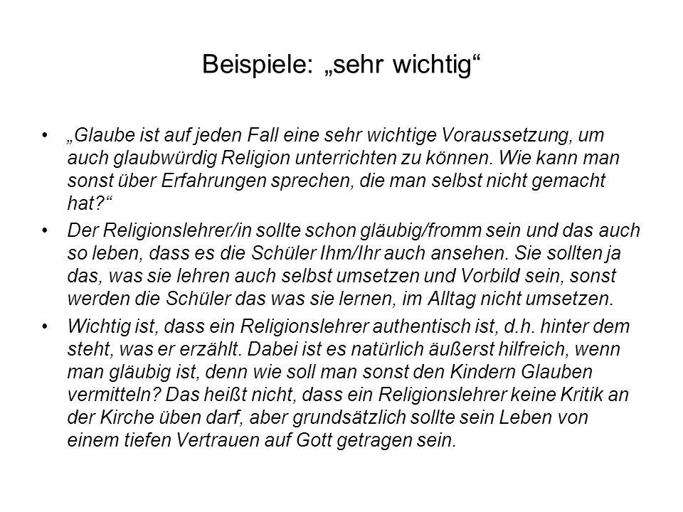 Beispiele: sehr wichtig Glaube ist auf jeden Fall eine sehr wichtige Voraussetzung, um auch glaubwürdig Religion unterrichten zu können. Wie kann man