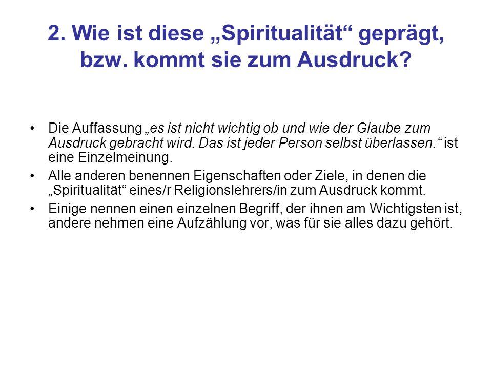 2. Wie ist diese Spiritualität geprägt, bzw. kommt sie zum Ausdruck? Die Auffassung es ist nicht wichtig ob und wie der Glaube zum Ausdruck gebracht w