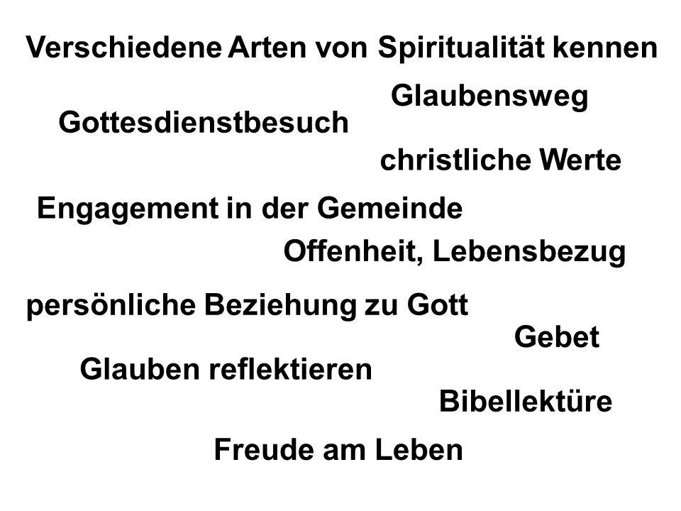 Glaubensweg Verschiedene Arten von Spiritualität kennen Gottesdienstbesuch persönliche Beziehung zu Gott Glauben reflektieren christliche Werte Offenh