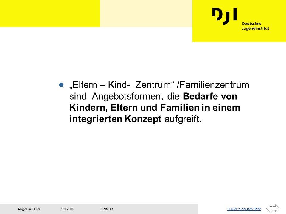 Zurück zur ersten Seite29.9.2006Angelika DillerSeite 13 l Eltern – Kind- Zentrum /Familienzentrum sind Angebotsformen, die Bedarfe von Kindern, Eltern
