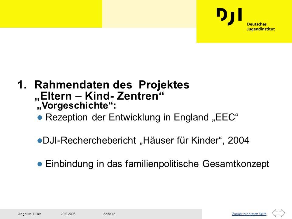 Zurück zur ersten Seite29.9.2006Angelika DillerSeite 15 1.Rahmendaten des Projektes Eltern – Kind- Zentren Vorgeschichte: Rezeption der Entwicklung in