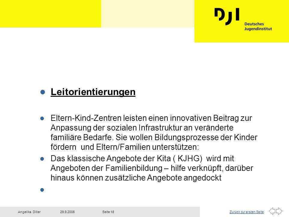 Zurück zur ersten Seite29.9.2006Angelika DillerSeite 18 l Leitorientierungen l Eltern-Kind-Zentren leisten einen innovativen Beitrag zur Anpassung der