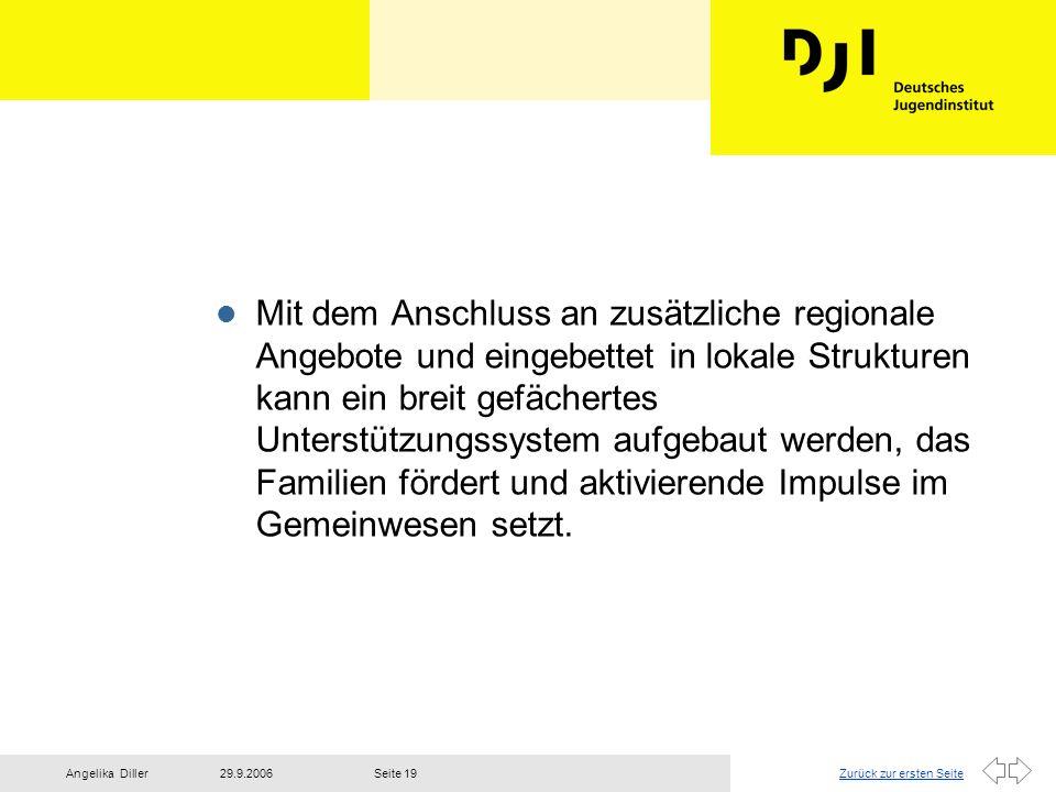 Zurück zur ersten Seite29.9.2006Angelika DillerSeite 19 l Mit dem Anschluss an zusätzliche regionale Angebote und eingebettet in lokale Strukturen kan