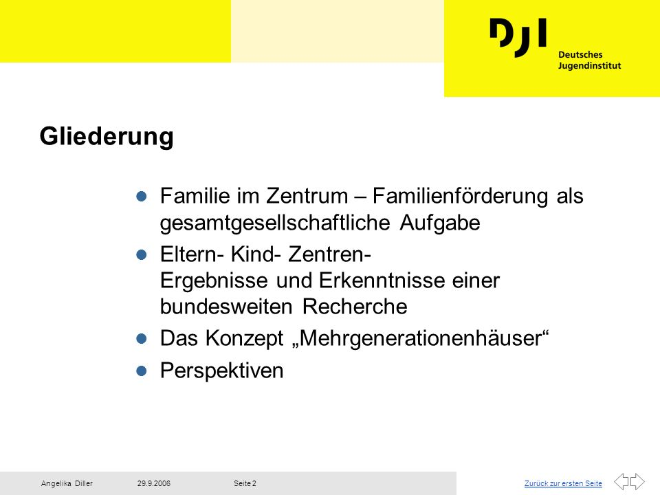 Zurück zur ersten Seite29.9.2006Angelika DillerSeite 2 Gliederung l Familie im Zentrum – Familienförderung als gesamtgesellschaftliche Aufgabe l Elter