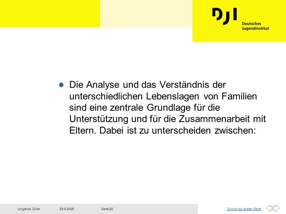 Zurück zur ersten Seite29.9.2006Angelika DillerSeite 28 l Die Analyse und das Verständnis der unterschiedlichen Lebenslagen von Familien sind eine zen