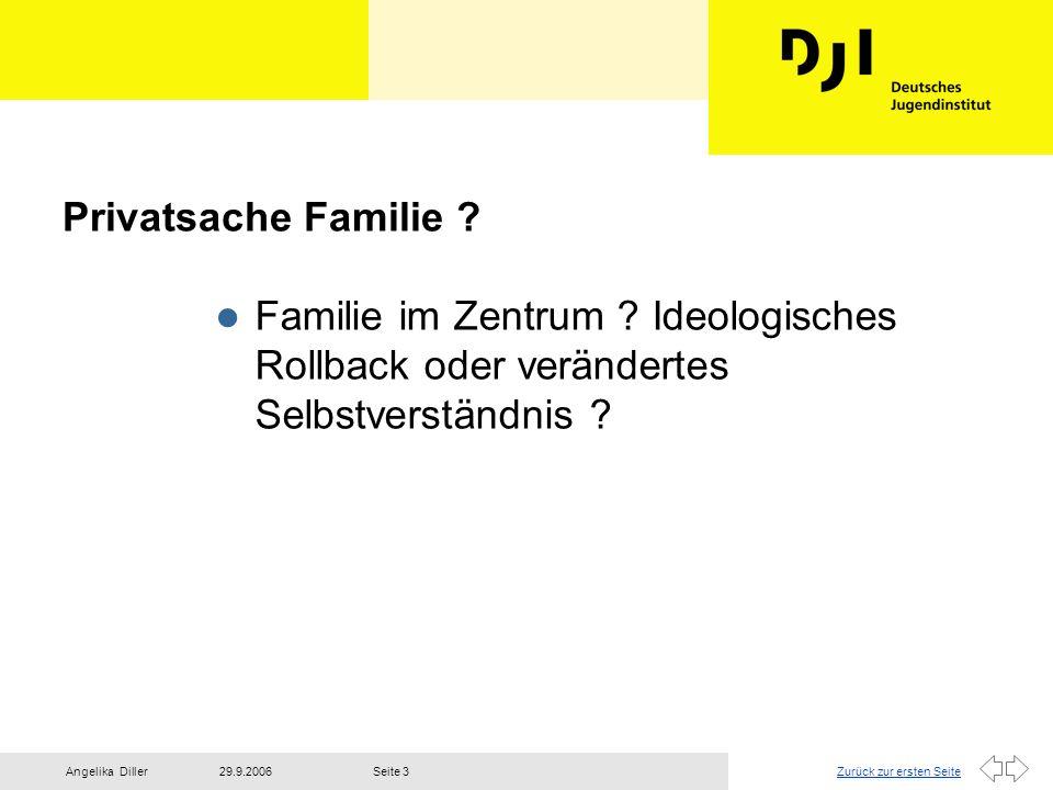 Zurück zur ersten Seite29.9.2006Angelika DillerSeite 4 Erkenntnisse aus dem 7.Familienbericht l Die Leistungen der Familie sind keine naturwüchsig ablaufenden Prozesse, vielmehr ist Familie eine ständige Herstellungs- Leistung