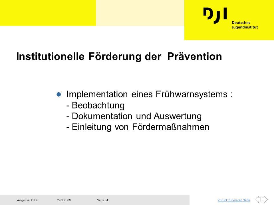 Zurück zur ersten Seite29.9.2006Angelika DillerSeite 34 Institutionelle Förderung der Prävention l Implementation eines Frühwarnsystems : - Beobachtun