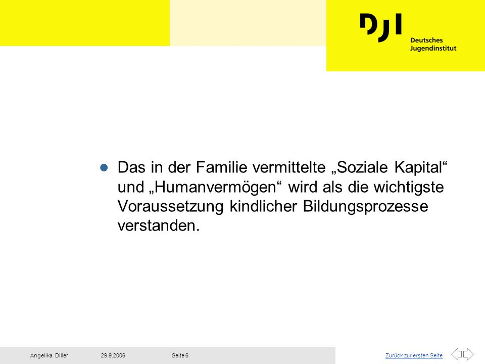 Zurück zur ersten Seite29.9.2006Angelika DillerSeite 6 l Das in der Familie vermittelte Soziale Kapital und Humanvermögen wird als die wichtigste Vora