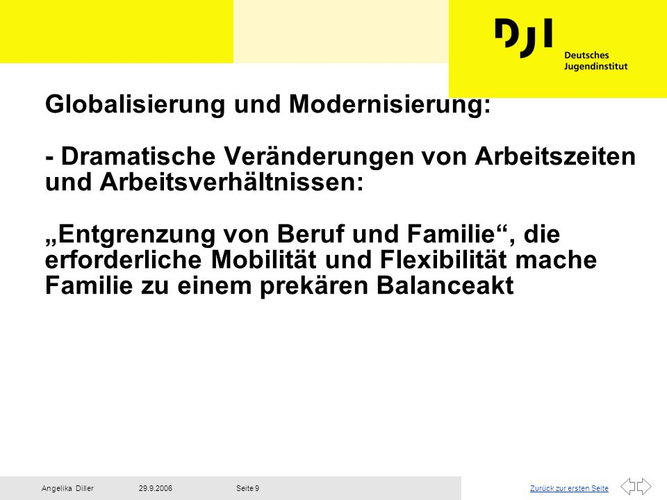 Zurück zur ersten Seite29.9.2006Angelika DillerSeite 10 - Gesunkene Stabilität ehelicher Partnerschaften - Ansteigen der Scheidungszahlen - Steigende Zahl von Alleinerziehenden - wachsende Anforderungen und damit verbundene Unsicherheiten