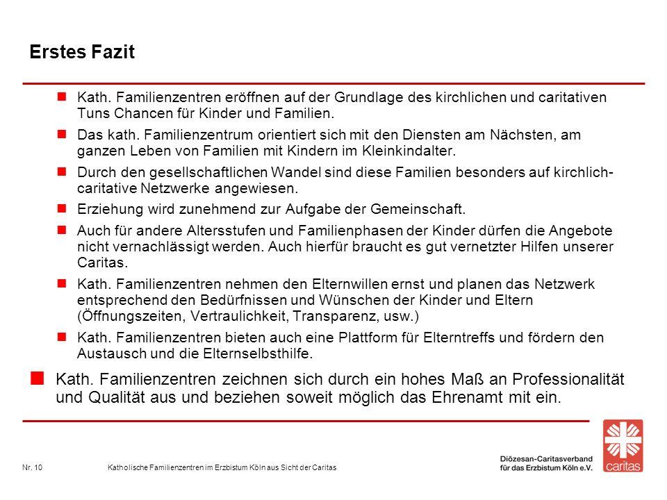 Katholische Familienzentren im Erzbistum Köln aus Sicht der CaritasNr. 10 Erstes Fazit Kath. Familienzentren eröffnen auf der Grundlage des kirchliche