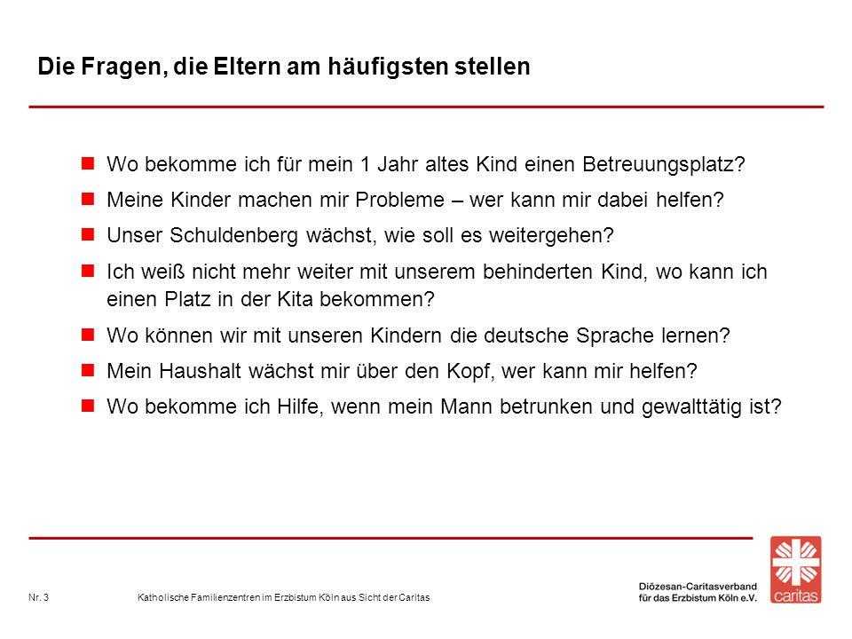 Katholische Familienzentren im Erzbistum Köln aus Sicht der CaritasNr. 3 Die Fragen, die Eltern am häufigsten stellen Wo bekomme ich für mein 1 Jahr a